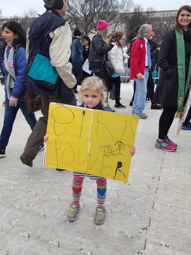 little girl with Girl Power sign, January 2017 Womens March, DC Womens March, girl power